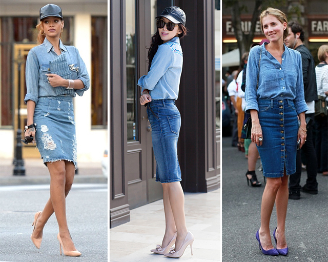 double-denim-skirts-rihanna-bloggers-models