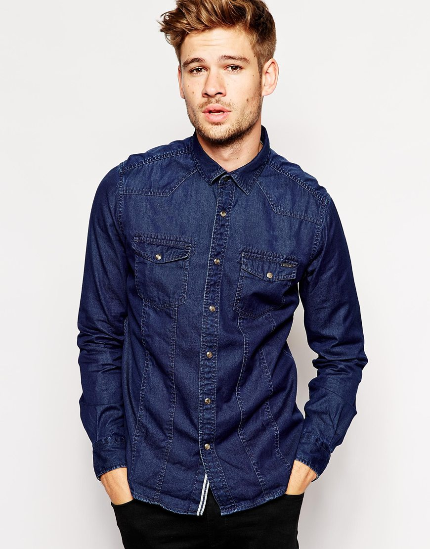 Denim Shirt From rugged casual to modern sophistication, the denim shirt is the ultimate closet staple. Check out men's jean shirts from tons of brands (and in plenty of colors) to fit any personal style.