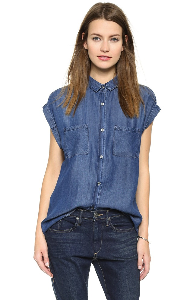 What good is a denim shirt if it's too stiff and uncomfortable to wear? Not a chance of that happening with our Sleeveless Denim Shirt. We put this women's sleeveless top through a punishing wash to ensure a lightweight, relaxed wear.