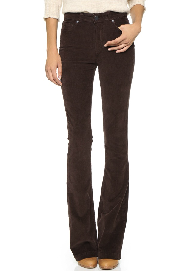 Paige Denim High Rise Bell Canyon Corduroy Jeans in Chocolate Brown | The Jeans Blog