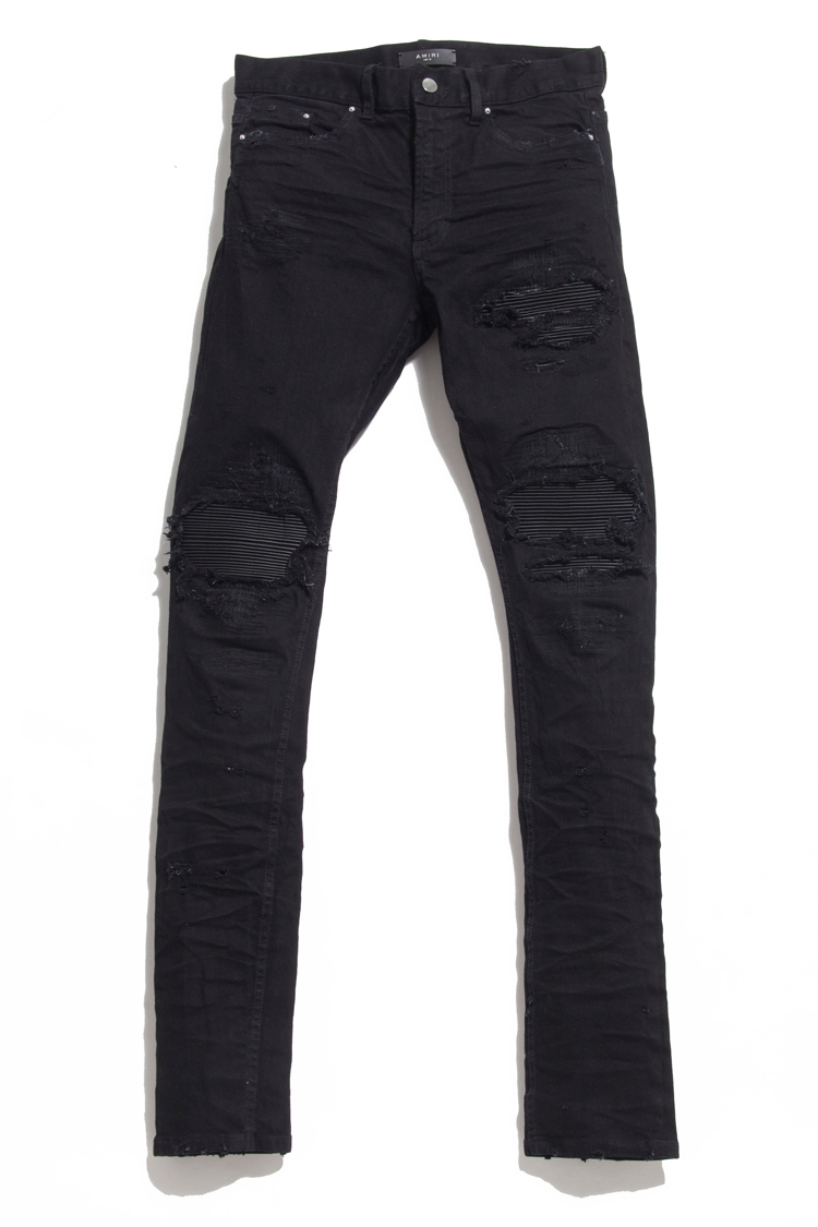 Black Waxed Denim Jeans Men