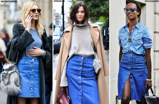 How To Style Button Up Denim Skirts For Fall | The Jeans Blog