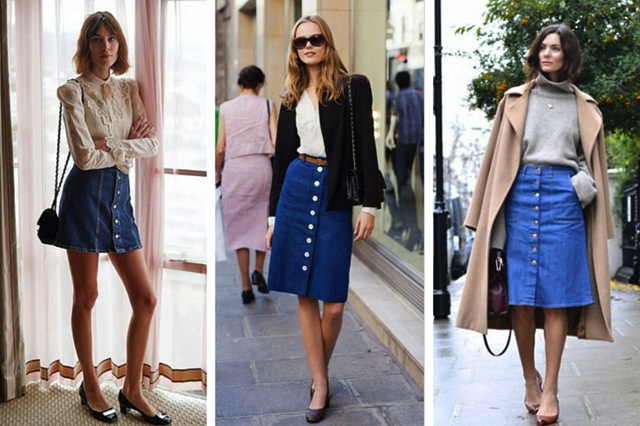 Button Up Jean Skirt