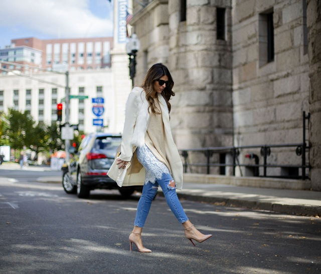 Ripped-Denim-Sweater-Lace-Underlay-White-Coat-White-Faux-fur-Nude-Pumps-Pam-Hetlinger-The-Girl-From-Panama-3-copy