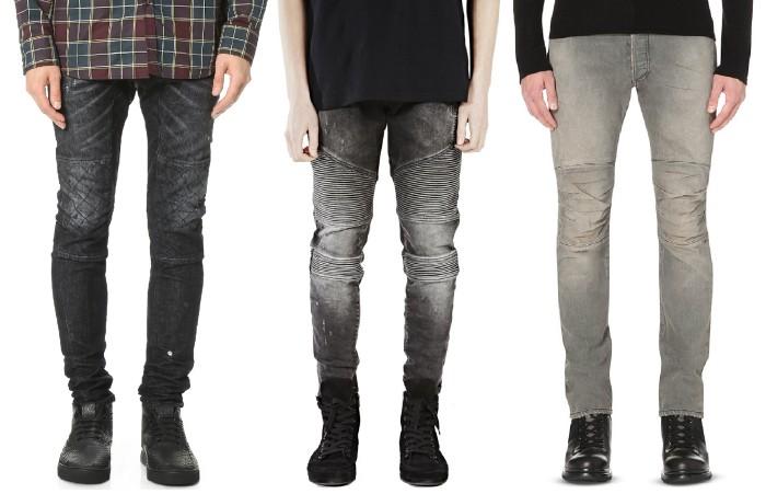 Gray Biker Jeans