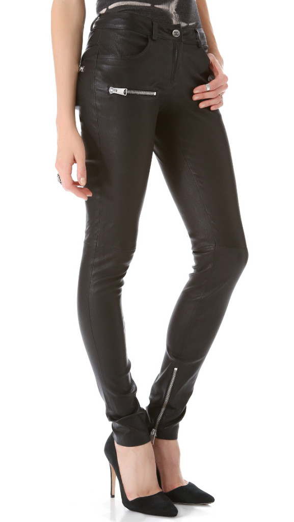 Anne Bing Stretch Leather Pants