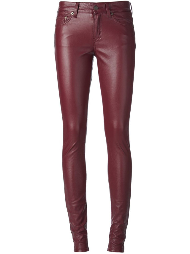 St. Laurent Leather Skinny Pants