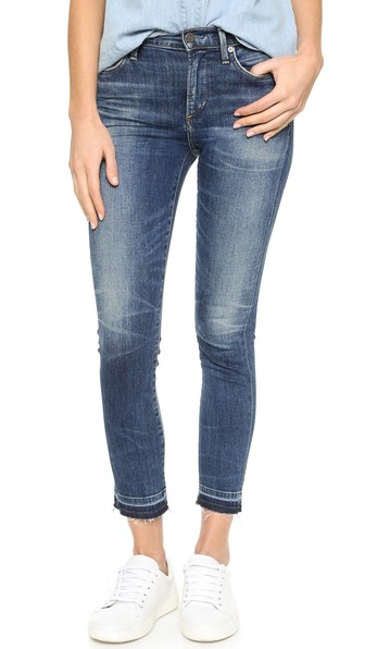 frayed hem cropped skinny jeans - Blue Citizens Of Humanity