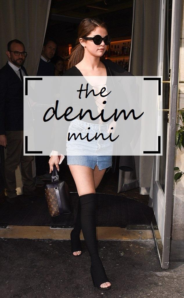 Denim Mini Skirt Selena Gomez