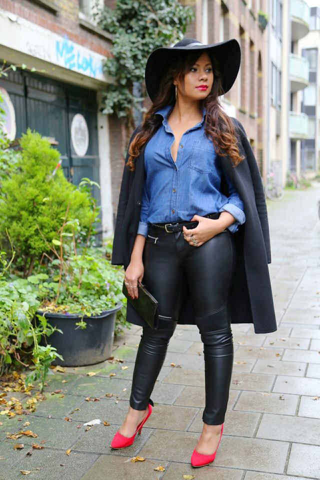 cositas denim shirt leather pants