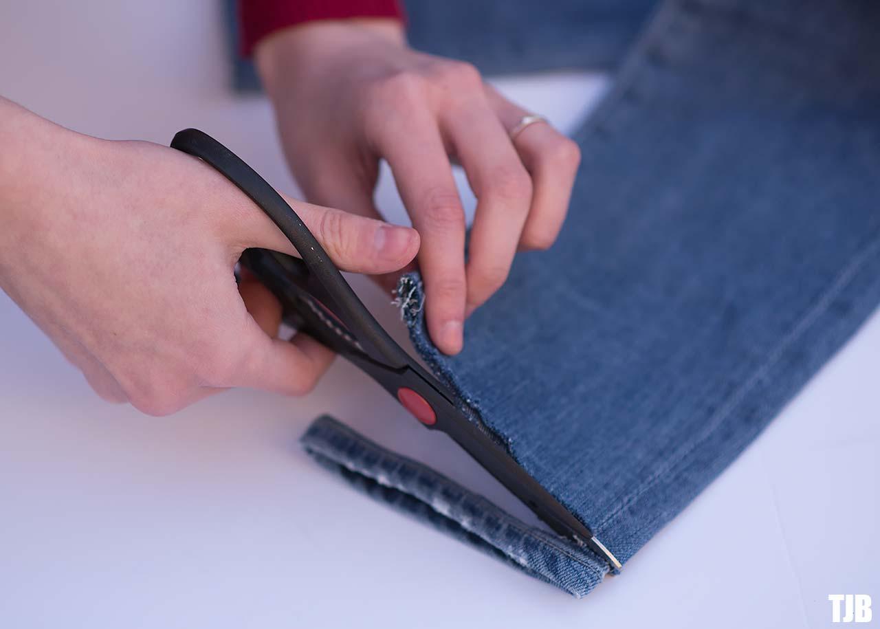 DIY Raw Hem Edge Chopped Hem How To Jeans 3