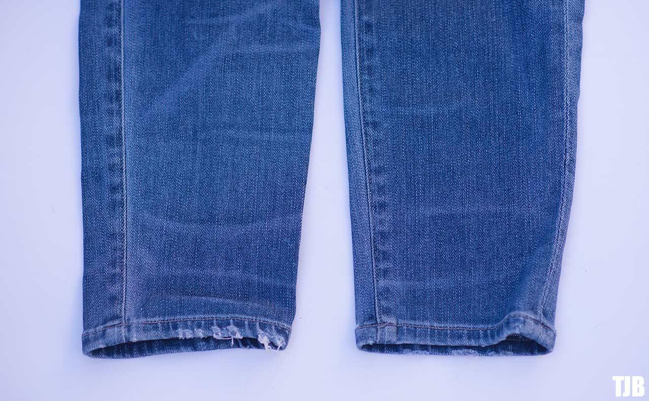 DIY Raw Hem Edge Chopped Hem How To Jeans 7