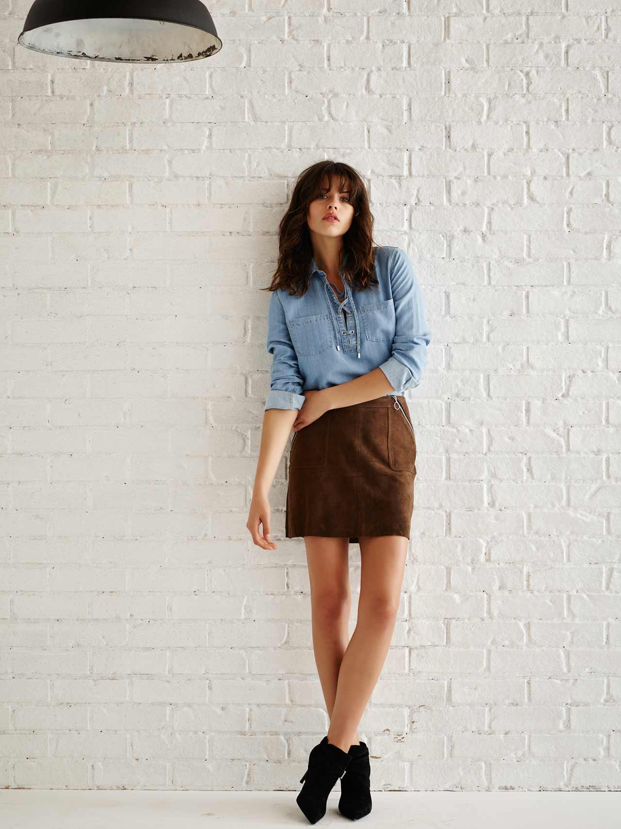 Elsie-Skirt-In-Dark-Brown-Suede