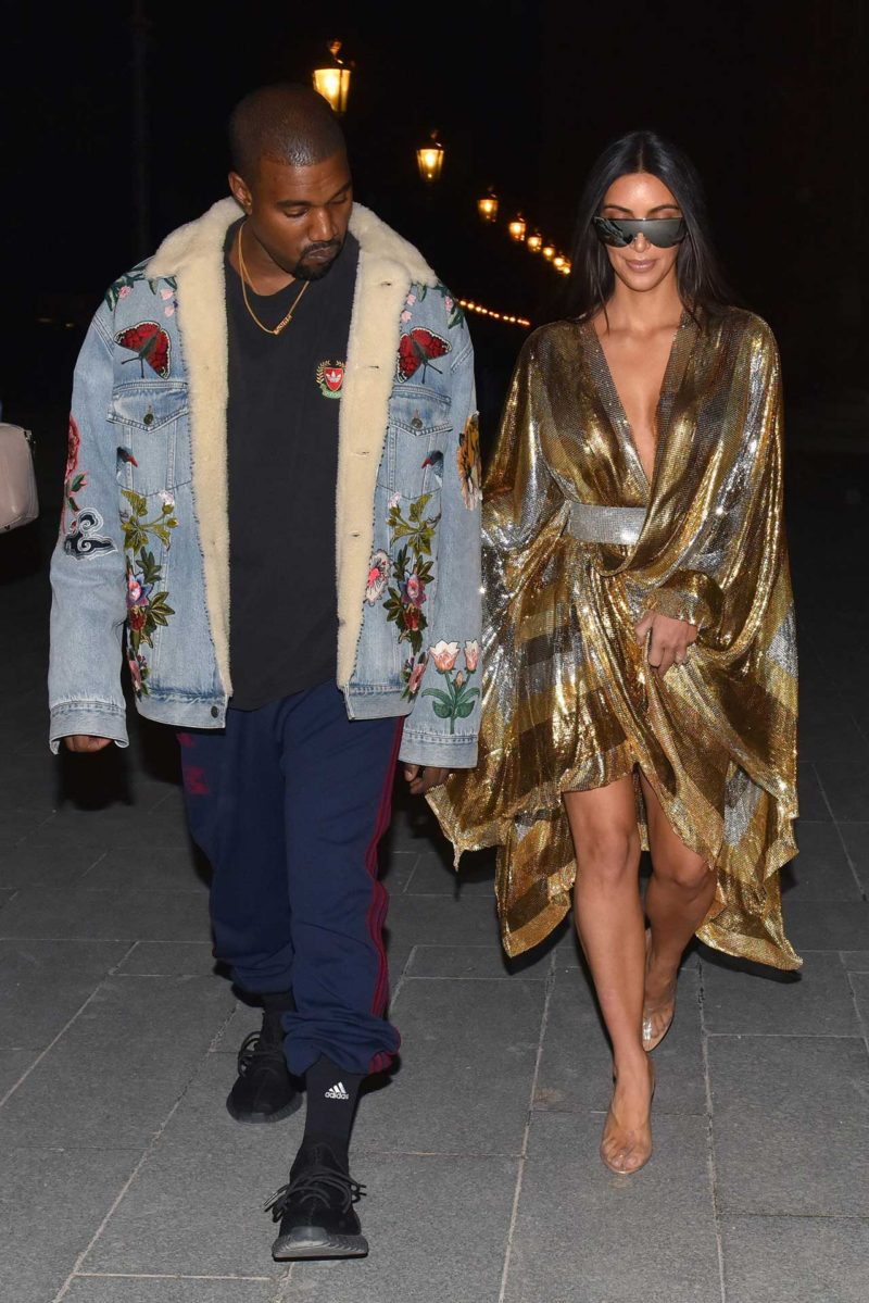 Kanye West Wears A Gucci Embroidered Denim Jacket The