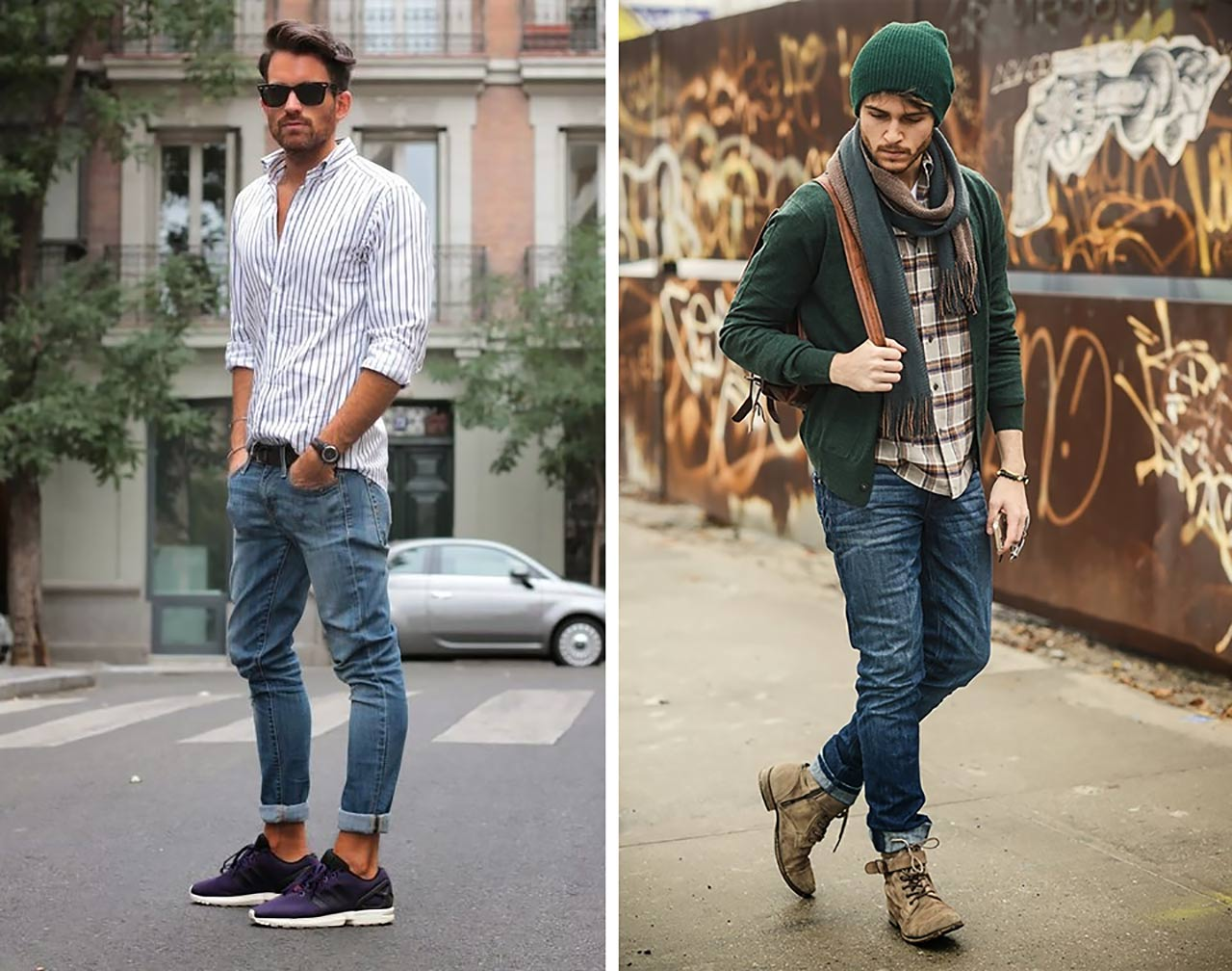 Stay trendy and casual with Expressâ s menâ s skinny jeans. These jeans were designed for a form-fitting look, so you donâ t need to worry about your jeans being too loose. You can pair our skinny jeans with a casual button-down shirt, polo, or t shirt for a cool and casual look. Shop these jeans now!