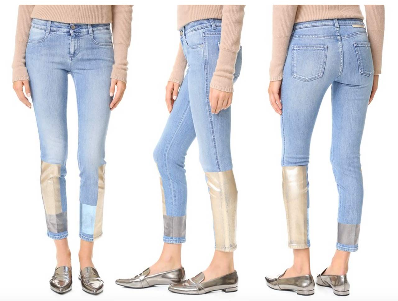 stella mccartney skinny ankle grazer jeans multi gold silver