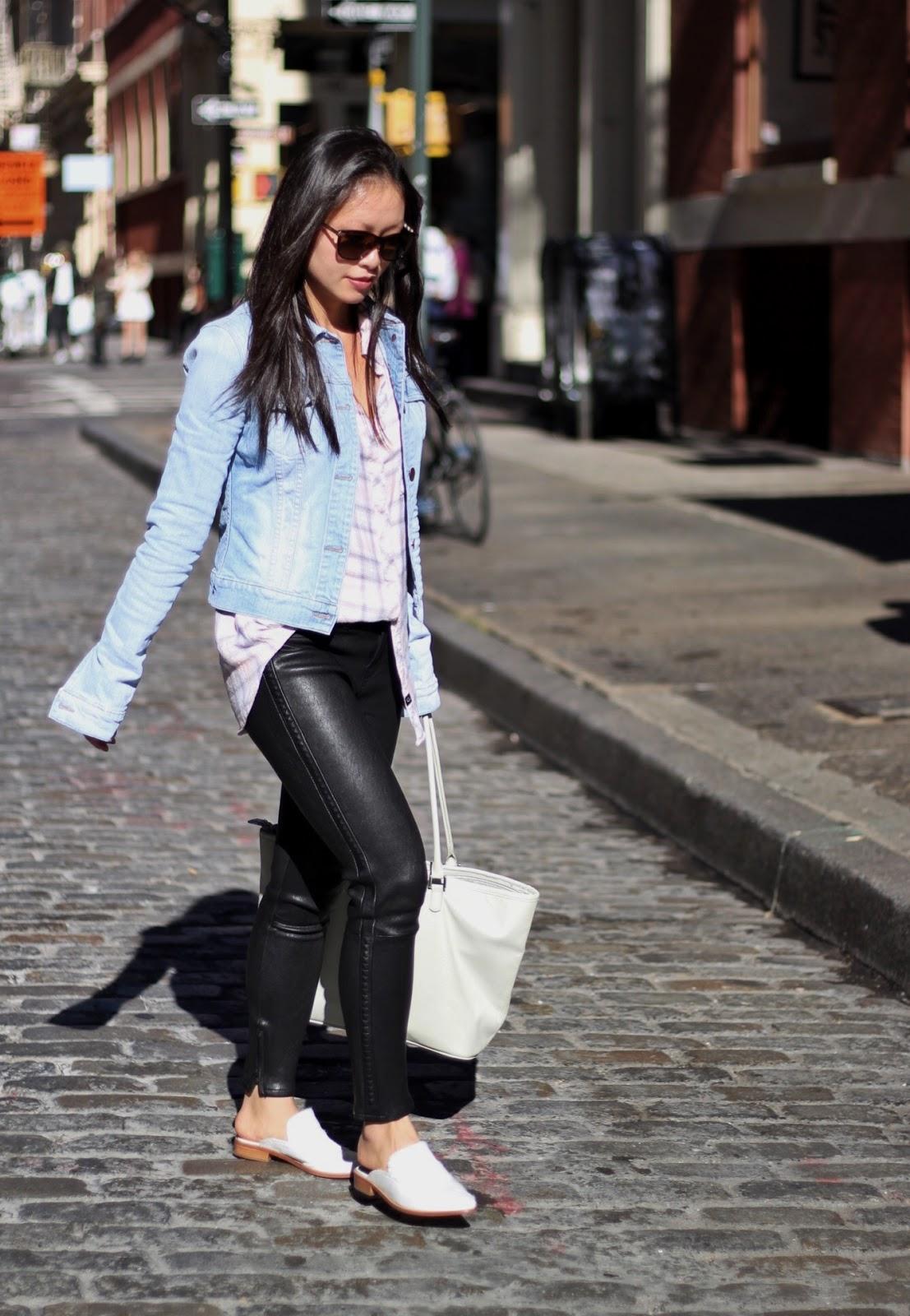 j-brand-leather-pants-denim-jacket-rails-plaid-shirt-tibi-denni-loafer-9