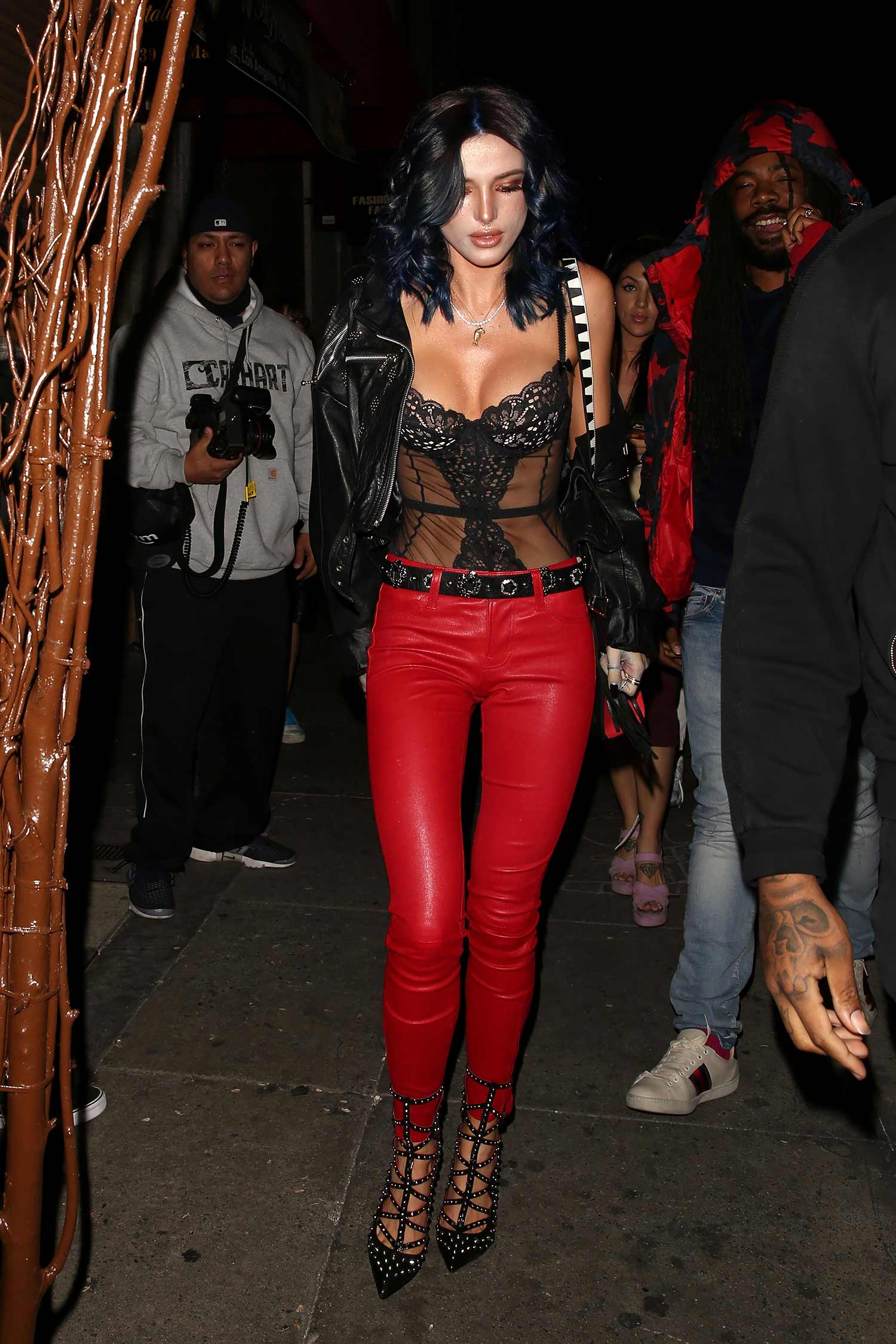 bella-thorne-red-j-brand-leather-pants