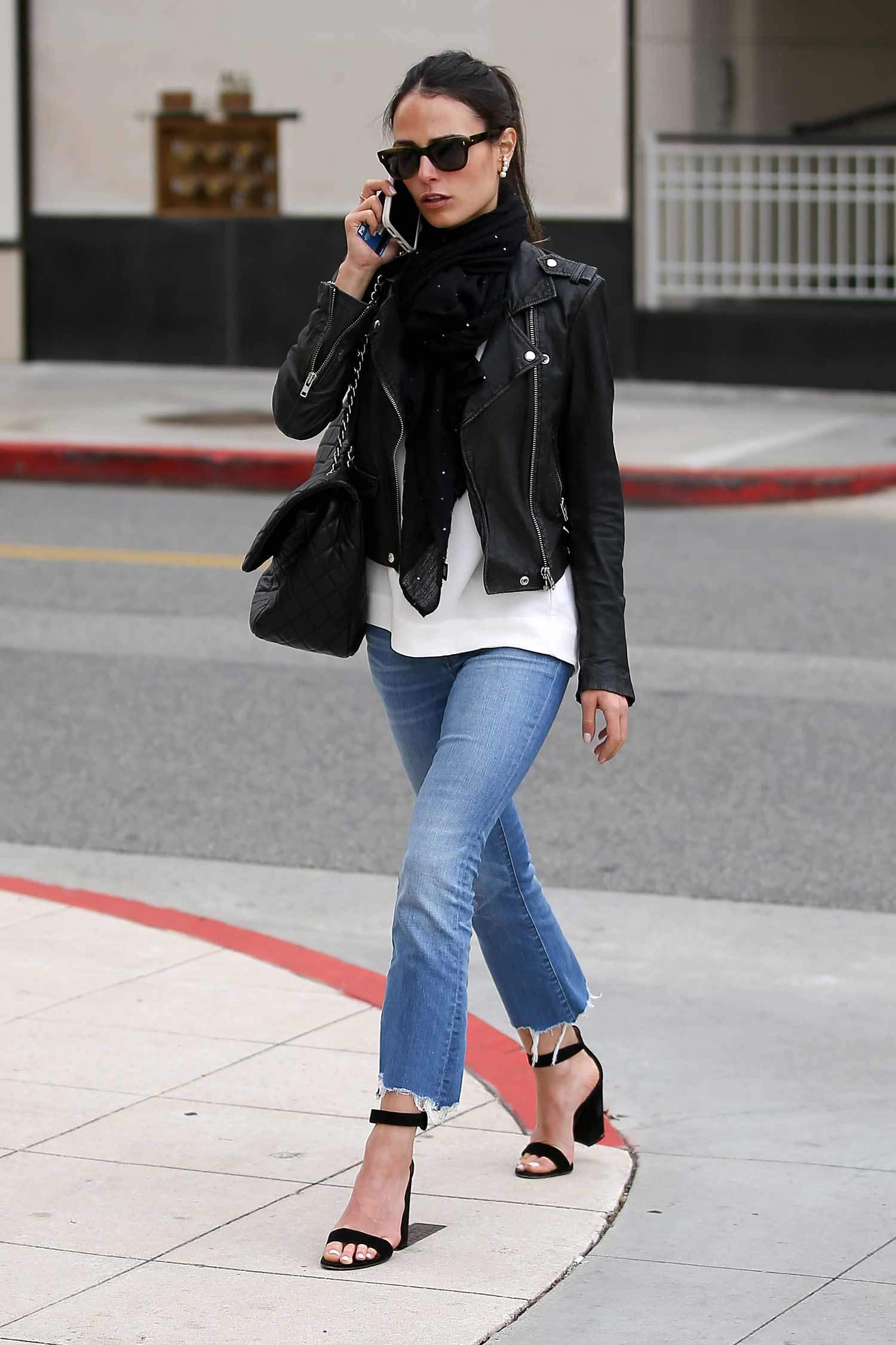 Jordana Brewster Wears Cropped Bootcut Jeans | The Jeans Blog