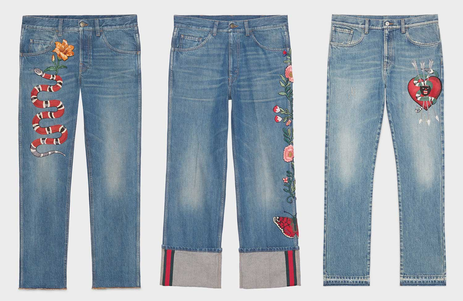 Embroidered denim pants - Blue Gucci yVtuA7