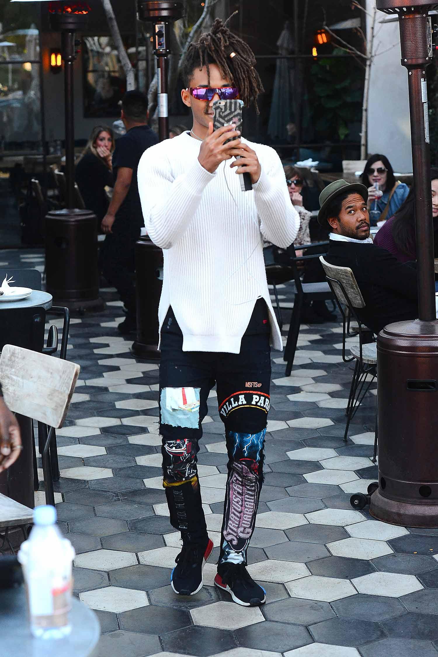 jaden smith wears custom msftsrep printed skinny jeans