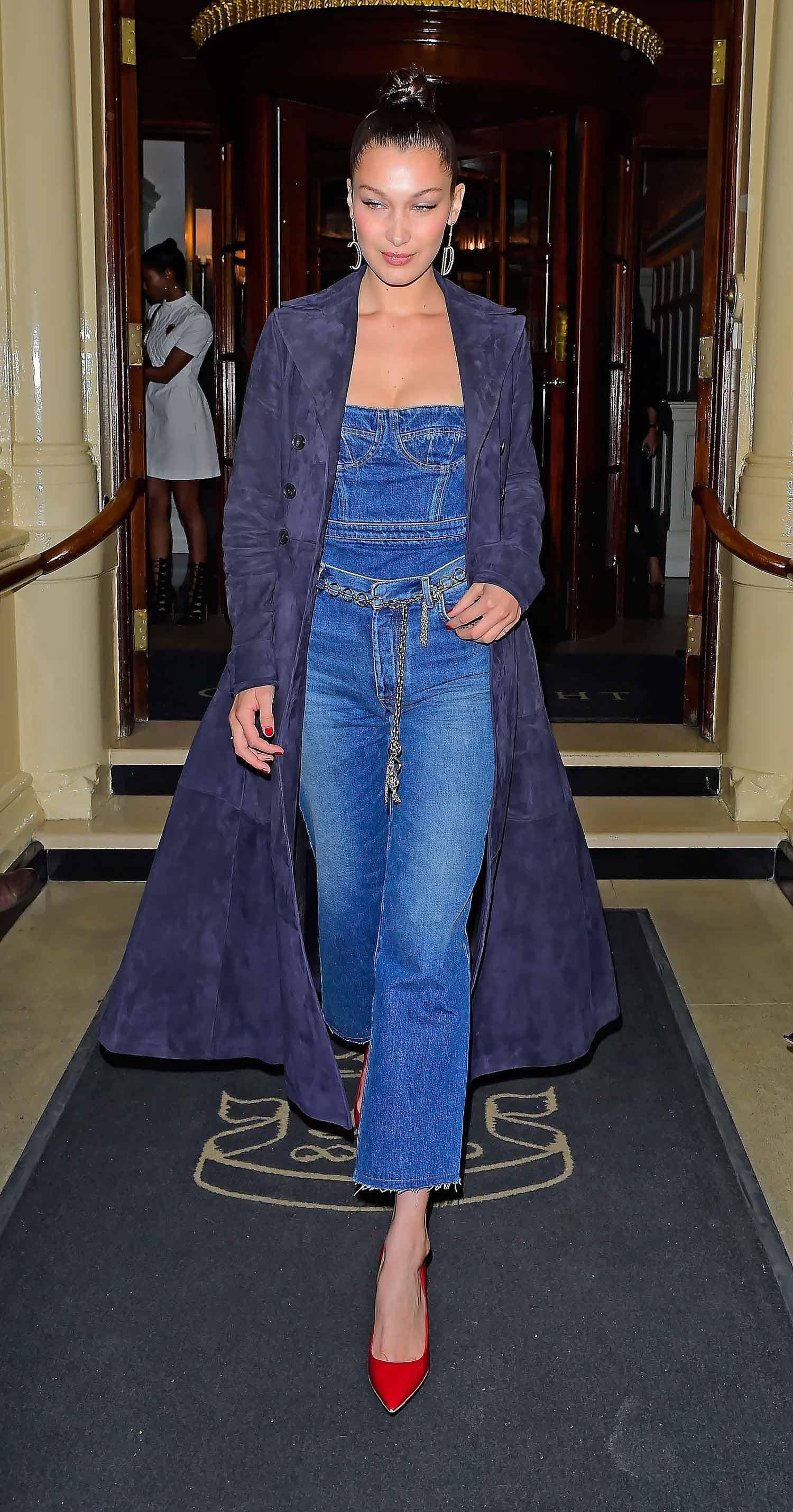 bdccc6c71b9d Bella Hadid Wears A DIOR Denim Jumpsuit